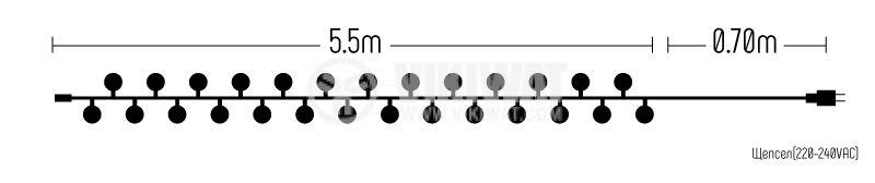 Светеща коледна украса, тип въже, с топки, 5.5m, 50 LEDs, бели - 6