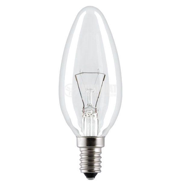 Обикновена лампа 220VAC, 60W, E14, тип свещ