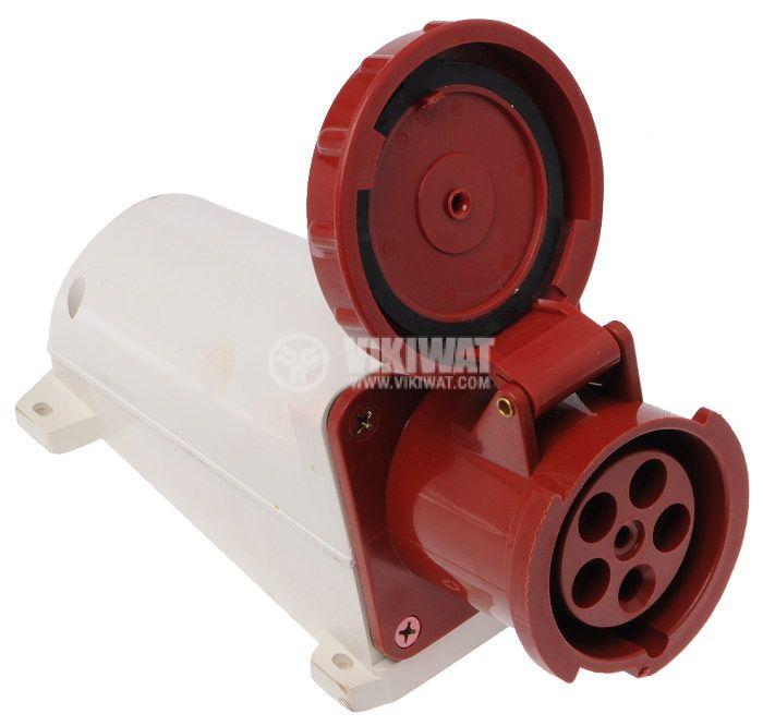 Industrial socket, HT-135, 3P+N+E, 400VAC, 63A