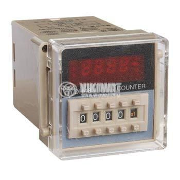 Брояч на импулси, програмируем, DH48J, 220 VAC, 4 разряден, 1- 999900, NC+NO, 8 pin - 1