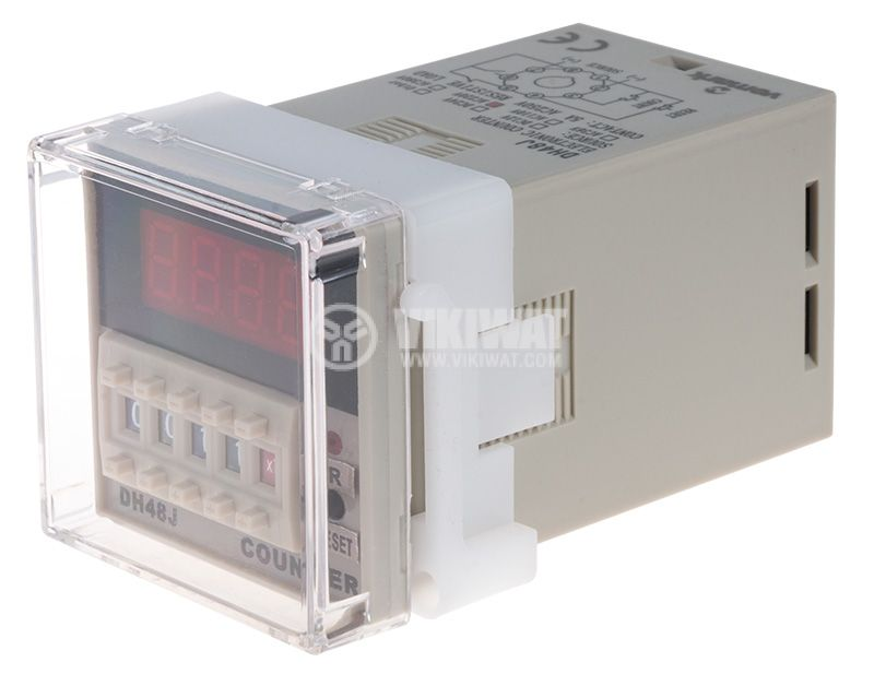 Programmable Impulse Counter, DH48J, 220 VAC, 4 digit, NC + NO - 1
