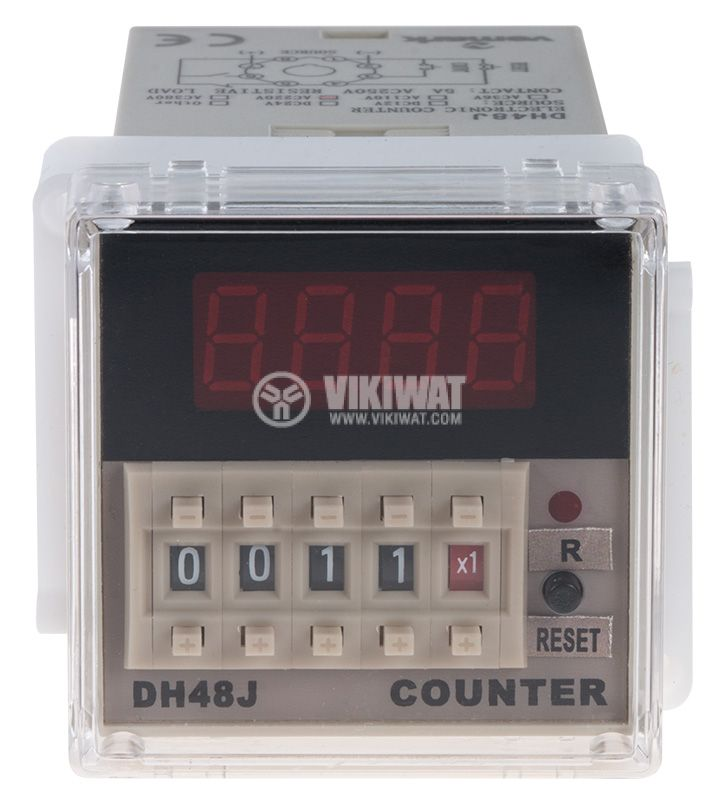 Programmable Impulse Counter, DH48J, 220 VAC, 4 digit, NC + NO - 2