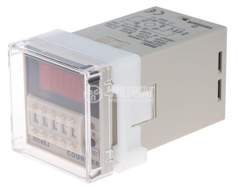 Брояч на импулси, програмируем, DH48J, 24 VDC, 4 разряден, 1- 9999, NC+NO, 8 pin - 1