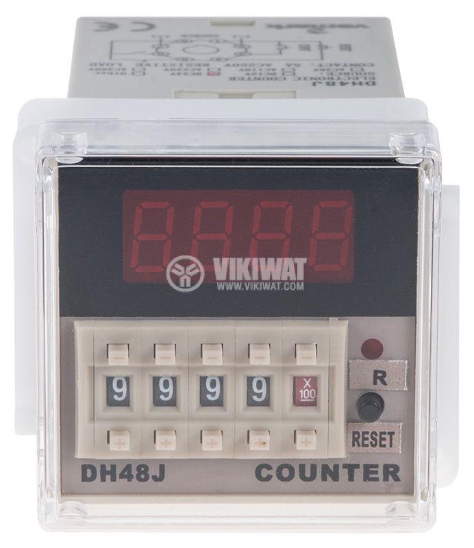 Брояч на импулси, програмируем, DH48J, 24 VDC, 4 разряден, 1- 9999, NC+NO, 8 pin - 2
