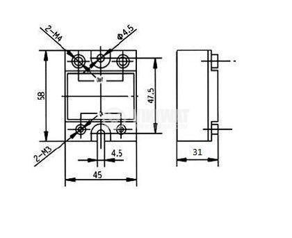 Солид стейт реле, SSRNC-280B, полупроводниково, 3-32VDC, товароносимост 80A/280VAC - 2