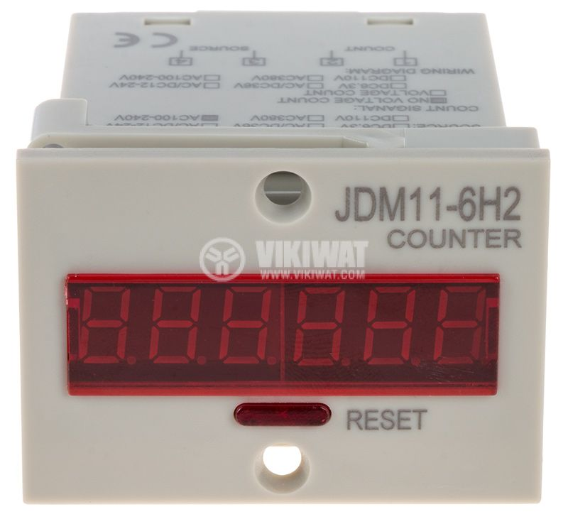 Брояч на импулси, електроенен, JDM11-6H2, 110~220VAC, 6 разряден, 1- 999999 - 1
