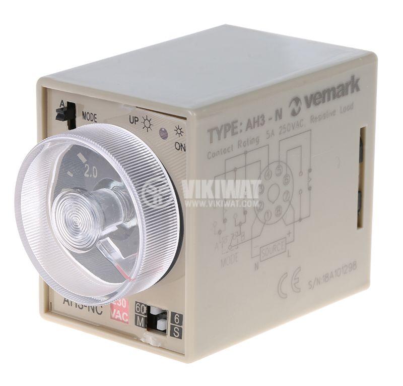 Реле за време, аналогово, AH3-2C, 220 VAC, 2NO +2NC, 220 VAC, 10 A, 0-60 min