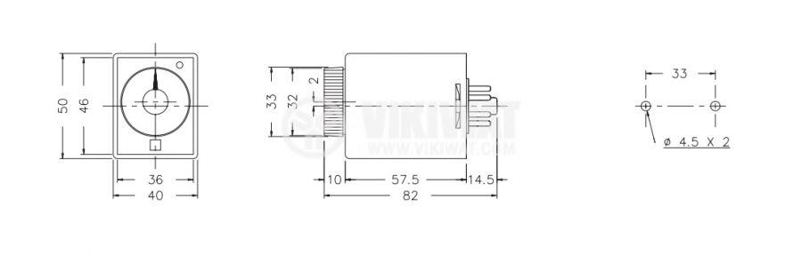 Реле за време, аналогово, AH3-2C, 12 VDC, 2NO + 2NC, 220 VAC, 10 A, 0-60 min - 2