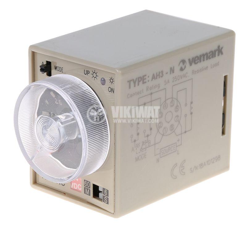 Реле за време, аналогово, AH3-2C, 24 VDC, 2NO +2 NC, 220 VAC, 10 A, 0-60min - 1