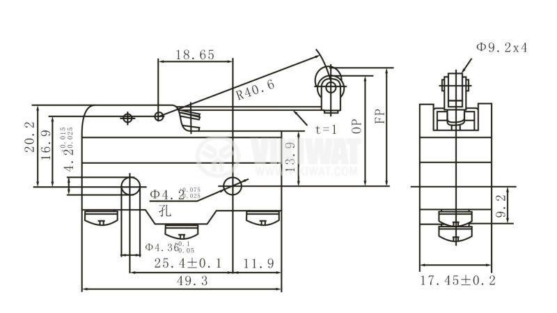 Краен изключвател с рамо с ролка - 2