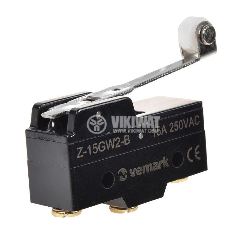 Краен изключвател Z-15GW2-B, SPDT-NO+NC, 15A/250VAC  - 1