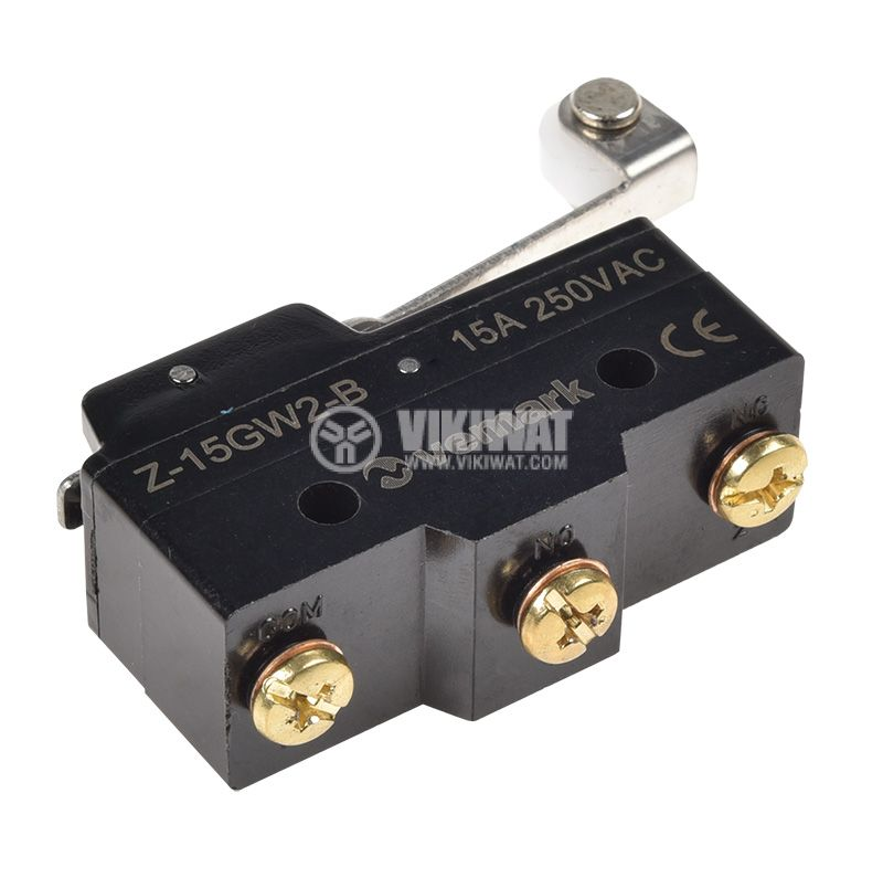 Краен изключвател Z-15GW2-B, SPDT-NO+NC, 15A/250VAC, рамо с ролка   - 3