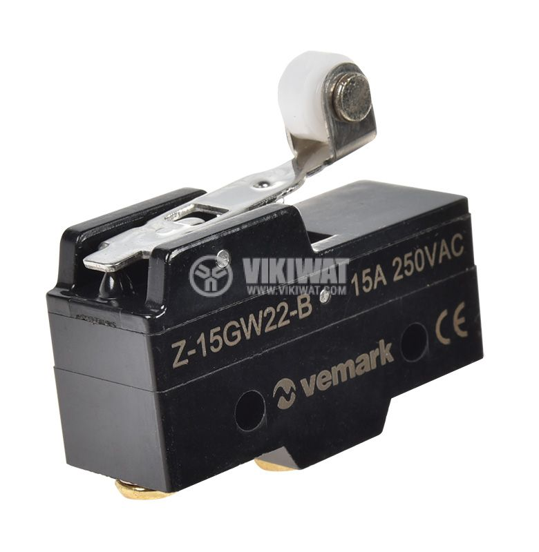 Limit Switch, Z-15GW22-B, SPDT-NO+NC, 15А/480VAC, lever with roll - 1