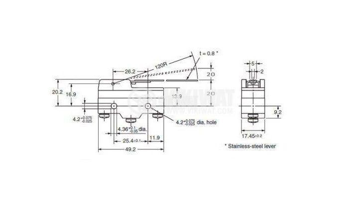 Краен изключвател, Z15HW24B, SPDT-NO+NC, 15A/480VAC, лост  - 2