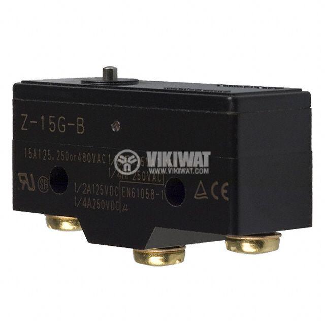 Краен изключвател, Z15G-B, SPDT-NO+NC, 15A/480VAC, щифт - 1