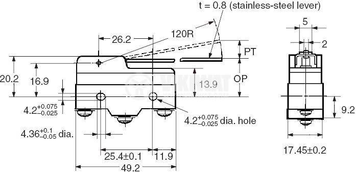 Краен изключвател, Z15G-B, SPDT-NO+NC, 15A/480VAC, щифт - 2