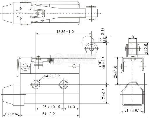 Краен изключвател, AZ7121, SPDT-NO+NC, 10A/250VAC, рамо с ролка - 2