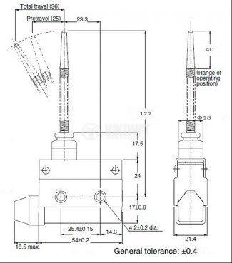 Краен изключвател, AZ7166, NO+NC, 240VAC, 10A, пружина - 2