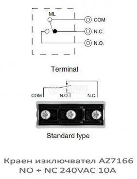 Краен изключвател, AZ7166, NO+NC, 240VAC, 10A, пружина - 3