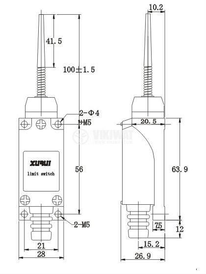 Краен изключвател, TZ-8166, NO+NC, 250VAC, 5A, пружина - 2