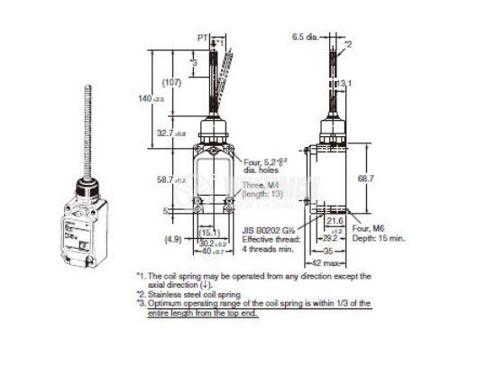 Limit Switch, WLNJ, NO+NC, 250VAC, 10A, spring return - 2