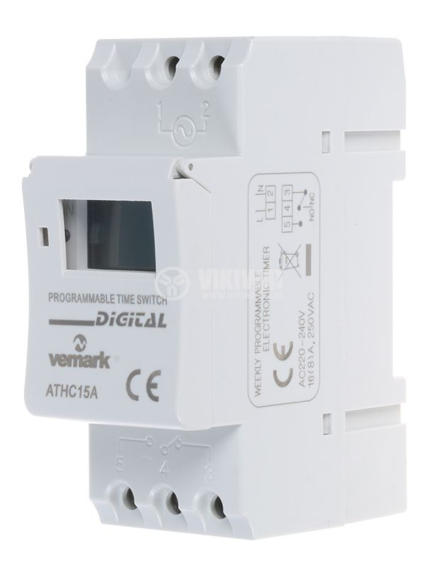 Programmable Weekly Timer, AHC15A, 220 VAC, NO + NC, 16 A - 1