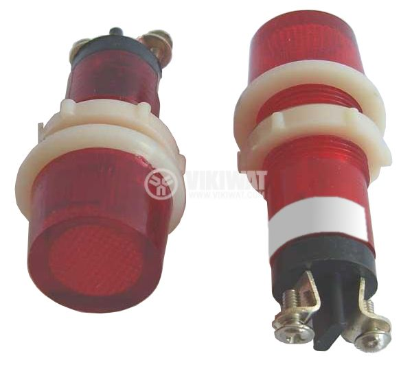 Индикаторна лампа, XH014, глим лампа, 220 VAC, червена