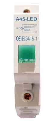 Индикаторна лампа A45-LED, 220 VAC, зелена