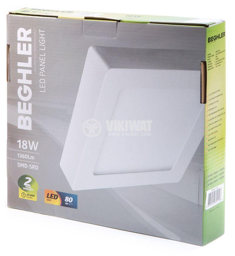 LED панел за обемен монтаж 18W, 1360lm, 220VAC, 4200K, студено бял, 220x220mm, BP04-31830 - 4