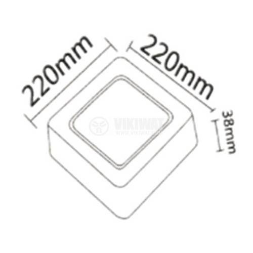 LED панел за обемен монтаж 18W, квадрат, 1360lm, 220VAC, 6400K, студенобял, 220x220mm, BP04-31830 - 2