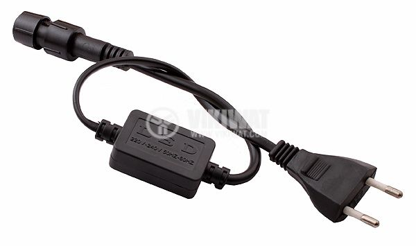 Захранващ кабел за LED маркуч, 240VAC-12VDC, 0.49m