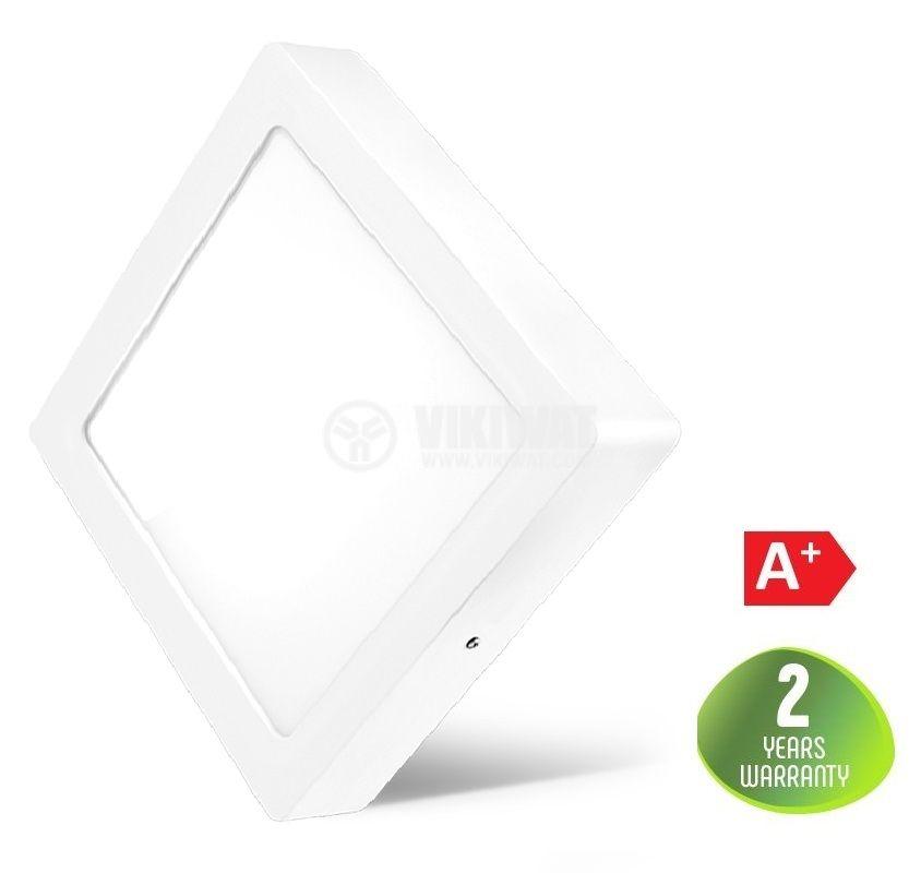 LED панел за обемен монтаж 24W, квадрат, 220VAC, 1752lm, 6400K, студенобял, 300x300mm, BP04-32430 - 1