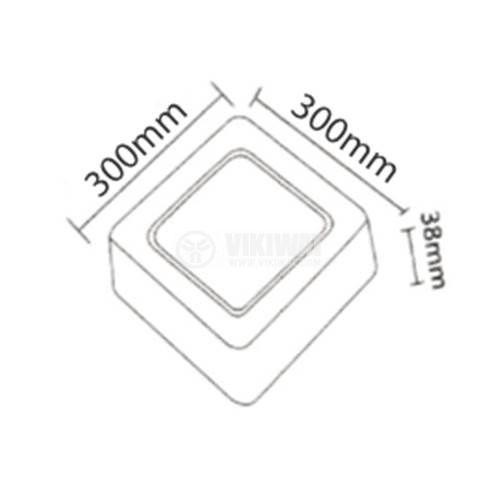 LED панел за обемен монтаж 24W, квадрат, 220VAC, 1752lm, 6400K, студенобял, 300x300mm, BP04-32430 - 2