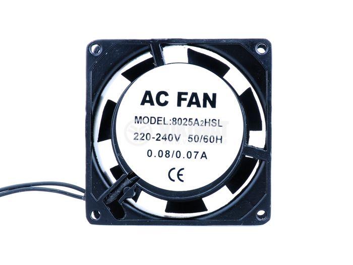 Вентилатор VM8025A2HSL, 80х80х25mm, 220VAC, 0.08A, втулка - 2