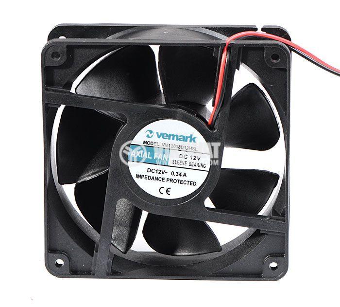 Вентилатор, 12VDC, 120x120x38mm, с втулка, 161m3/h, VM12038D12HSL