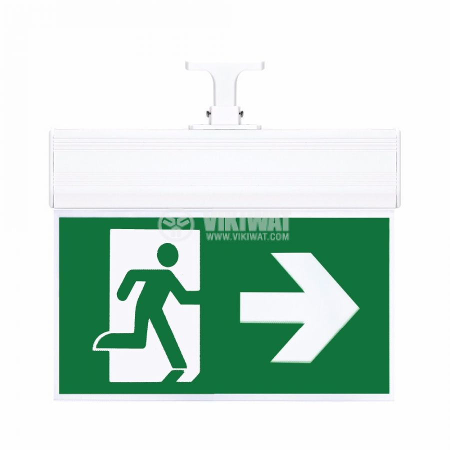 "Emergency LED fixture ""EXIT-right"", 2W, BC14-01100 - 1"
