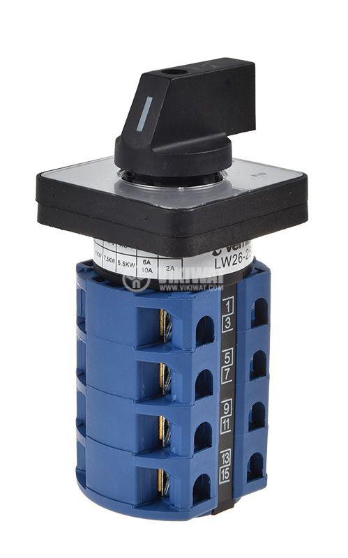 Пакетен електрически прекъсвач (ПЕП) LW26-25A, 25А, 220/380VAC, 4 секции, 8 контакта, 3 позиции - 3