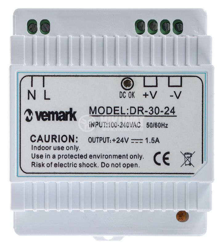 Switching power supply for DIN rail 24VDC, 1.5A, 30W, VDR30-24