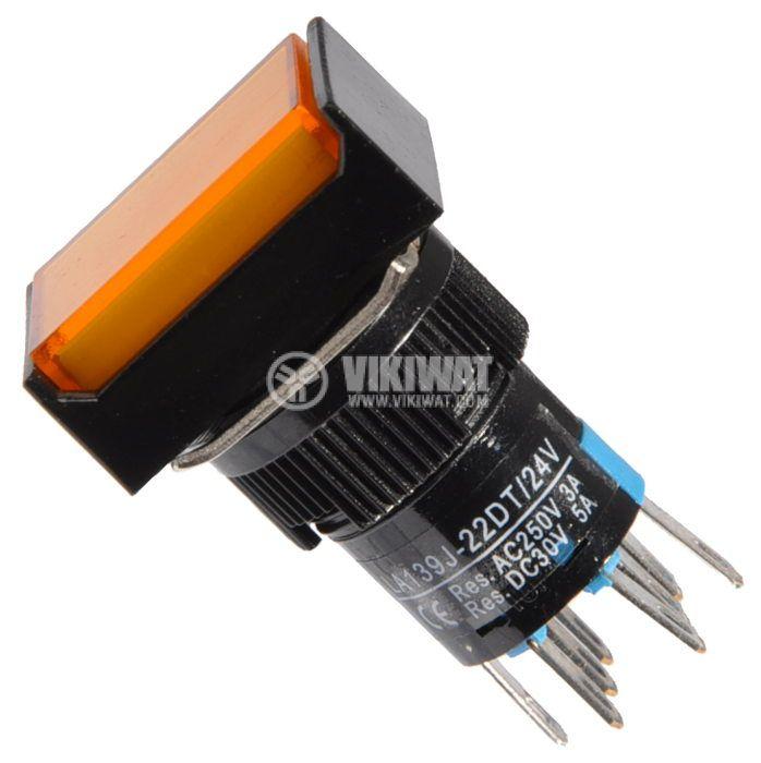 Бутон светещ тип RAFI, LA139J-22DT, 24VDC, DPDT - 2NO+2NC - 1