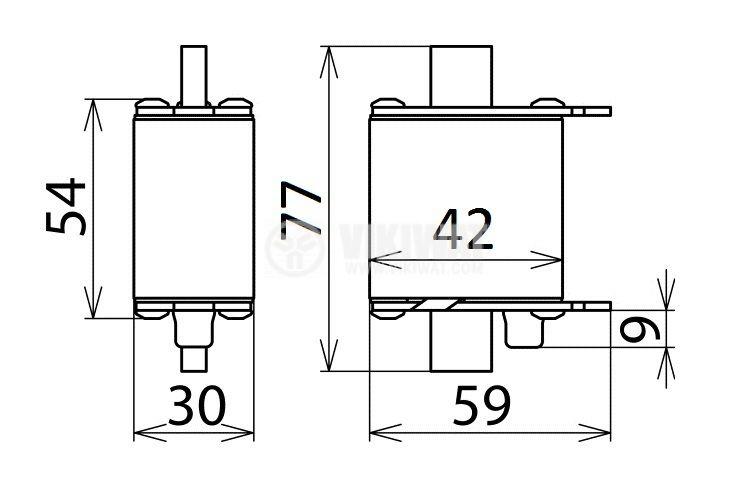 Fuse, NH00-7063, 63A, 500VAC, gG/gL, knifeblade - 2