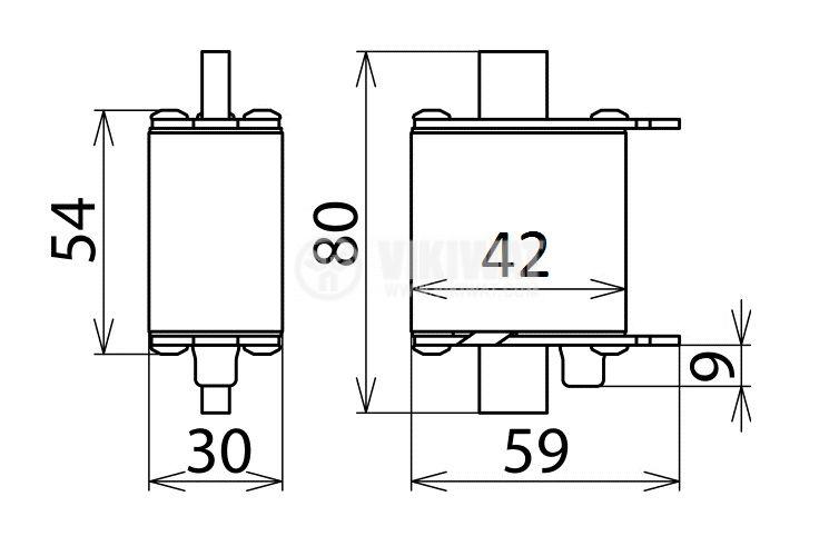 Fuse, NH00-7080, 80A, 500VAC, gG/gL, knifeblade - 2