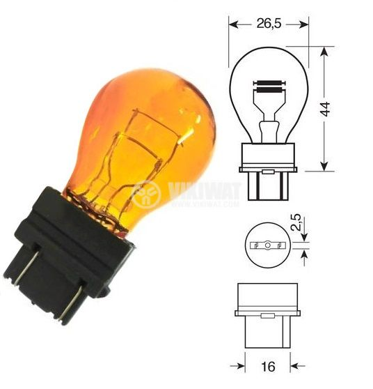 Автомобилна лампа, 12VDC, 27/7W, PY27/7W, W2.5x16q