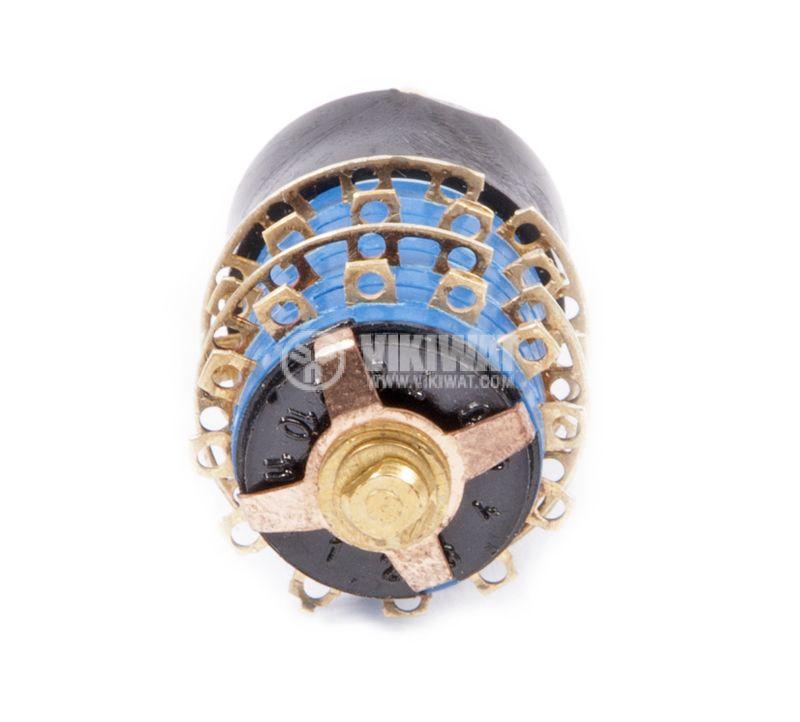 Ротационен превключвател (Галета) - 4 секции, 5 положения, 48 пина, ф18x54, пластмаса - 2
