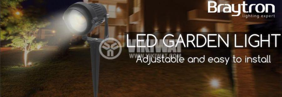 LED COB spike light earth rod SPOTLUX, 9W, 220VAC, 720lm, 3000K, warm white, IP65, waterproof, BT25-00102 - 6