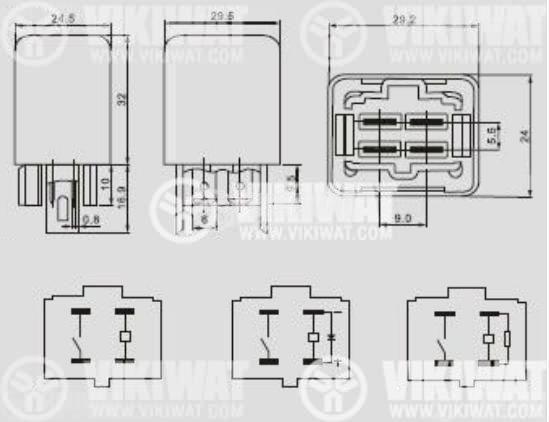 Електромагнитно автомобилно реле бобина 12VDC/30A SPST - NO, AS401 - 4