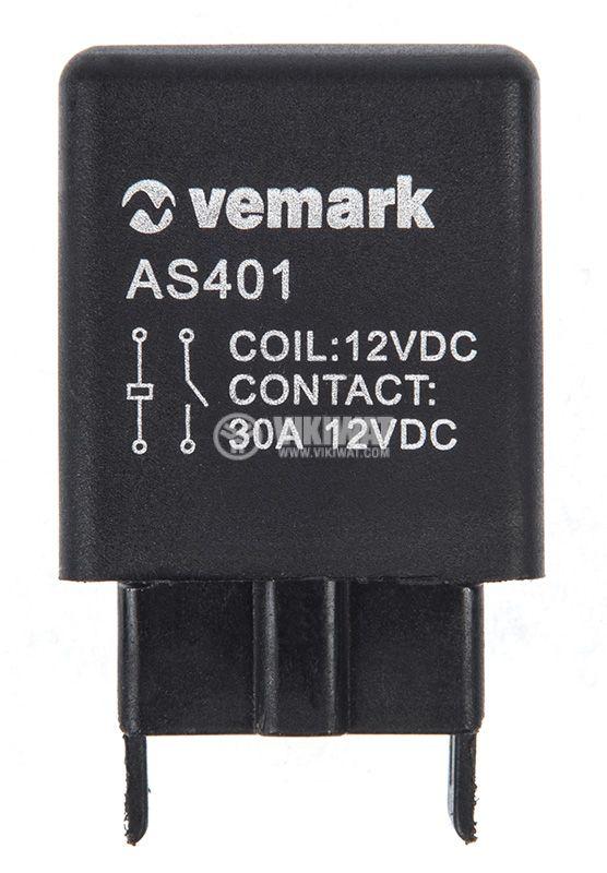 Електромагнитно автомобилно реле AS401, бобина, 12VDC/30A SPST - NO - 1
