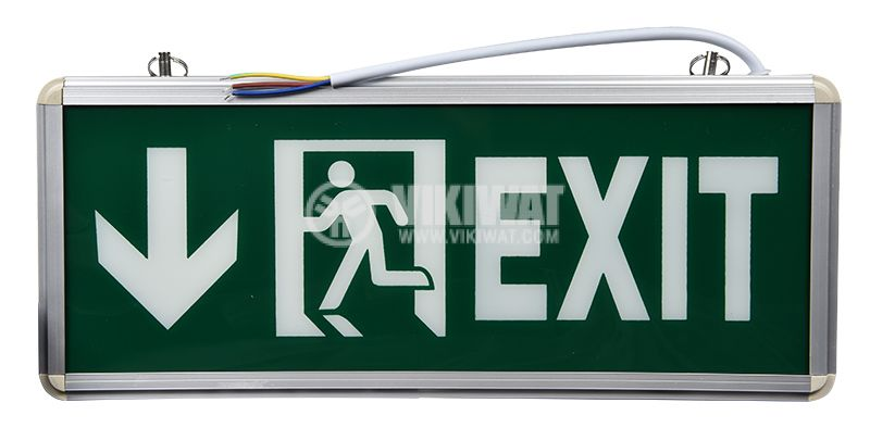 Emergency LED fixture EXIT, 3W, 220VAC, downward, BC14-00753, green body with white letters - 1