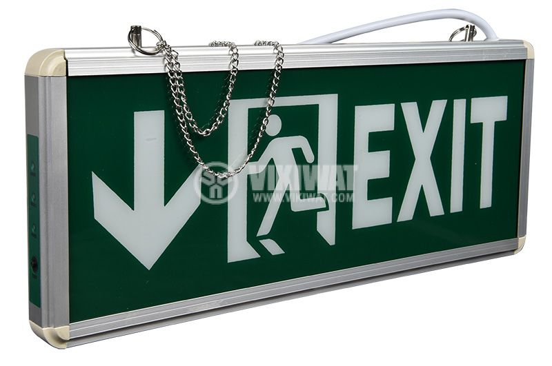 Emergency LED fixture EXIT, 3W, 220VAC, downward, BC14-00753, green body with white letters - 3