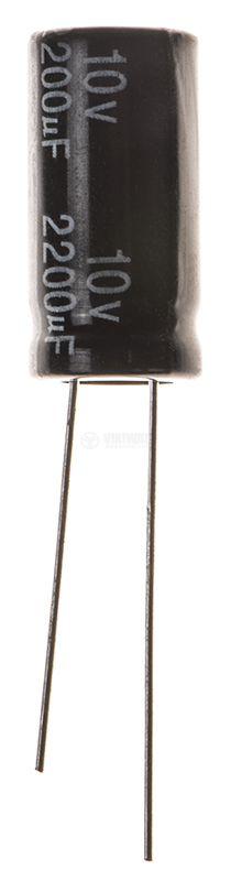 Кондензатор електролитен 2200uF, 10V, THT, ф10x20mm, Low ESR, нисък импеданс - 1