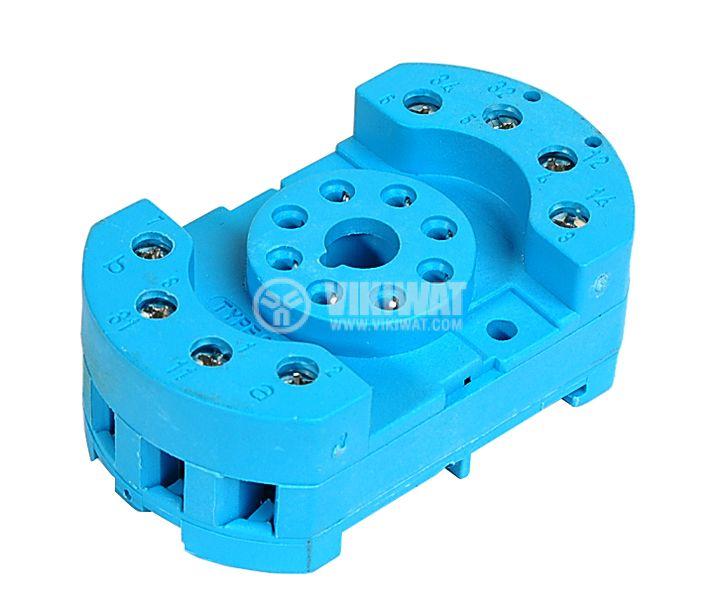 Цокъл за реле 90.20, DIN шина, 250VAC, 10А, 8pin , с винтови изводи  - 1